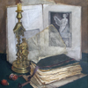 Still life with candlestick and books, 2000 49x37 cm; картина не продается