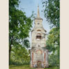 Ostashkov. Bell tower of Transfiguration Church, 2011 15x30 cm; картина не продается